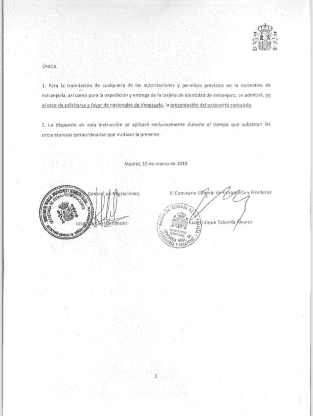 España acepta pasaporte venezolano caducado