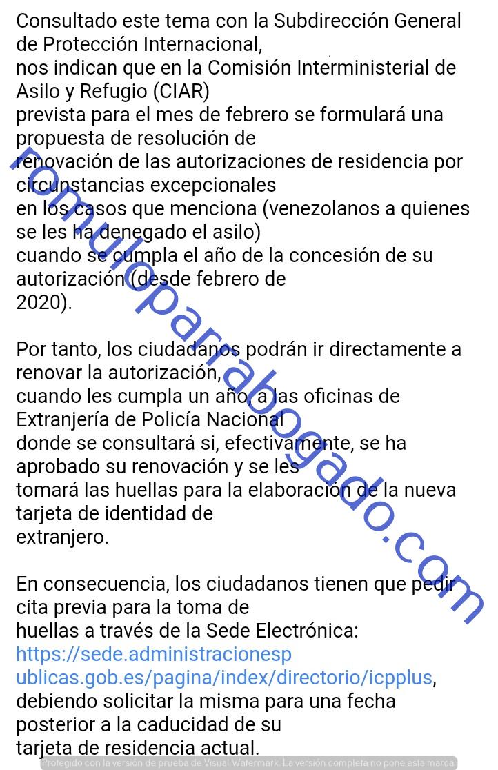 Renovación de residencia por razones humanitarias: venezolanos asilo denegado