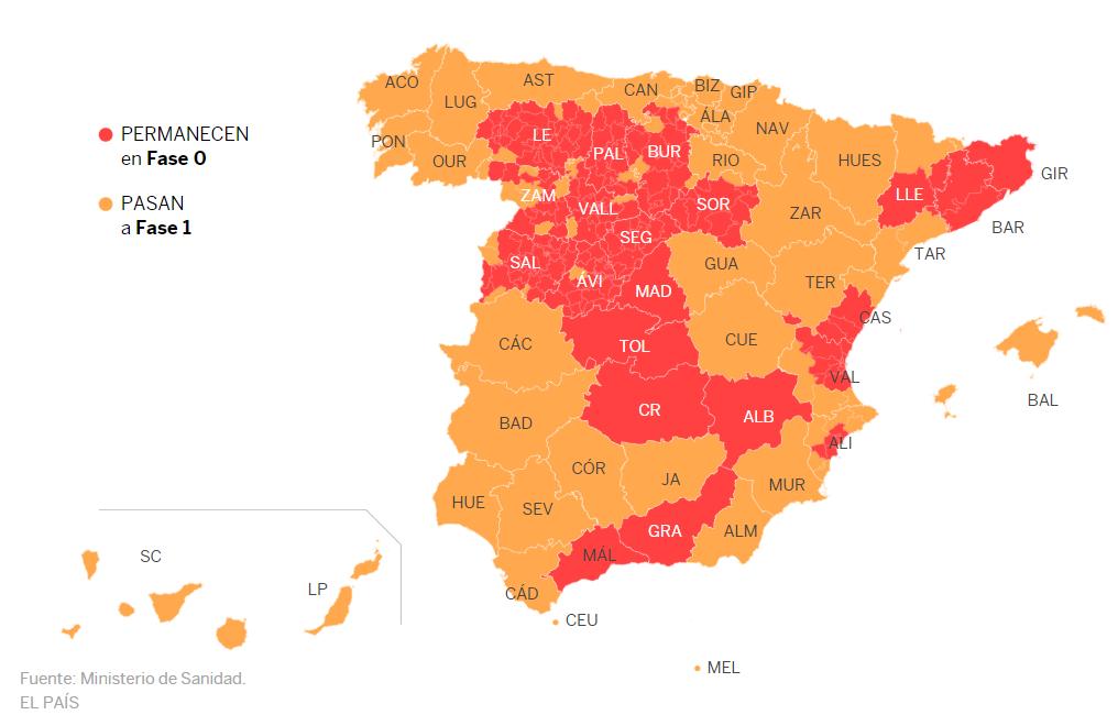 cuándo abrirán las oficinas de extranjería, mapa fases desescalada estado alarma coronavirus