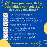 Quienes pueden solicitar la nacionalidad al año de residencia legal